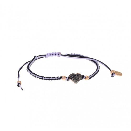 Silver bracelet macrame with black spinels and rose gold plated