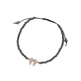 Silver bracelet with white zircons rose gold plated and Hematite stones