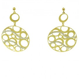 Silver earrings gold plated and design with diamond technology
