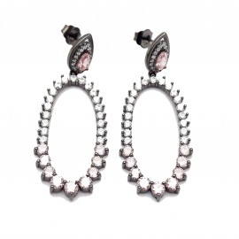 Silver earrings with black platinum white, rose zircons.