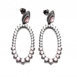 Σκουλαρίκια ασημένια με μαύρη πλατίνα, λευκά και ροζ ζιργκόν.