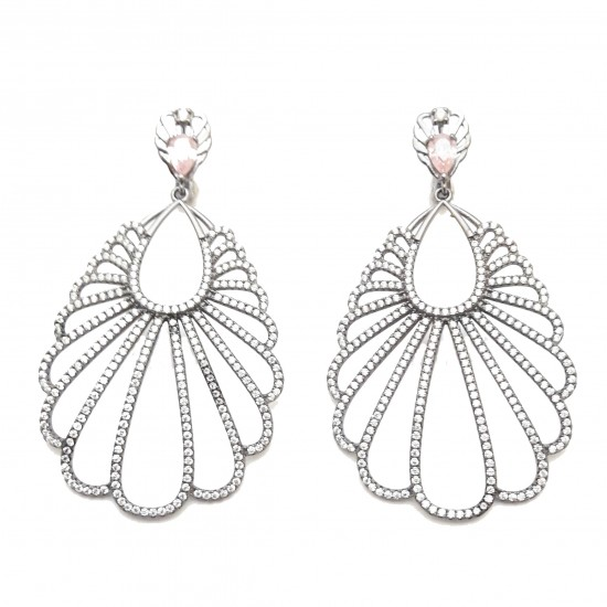 Silver Black Platinum Plating and white gemstone earrings