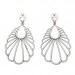Silver Black Platinum Plating and white gemstone earrings 40169