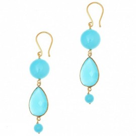 Silver earrings gold plated with turquoise and crystals