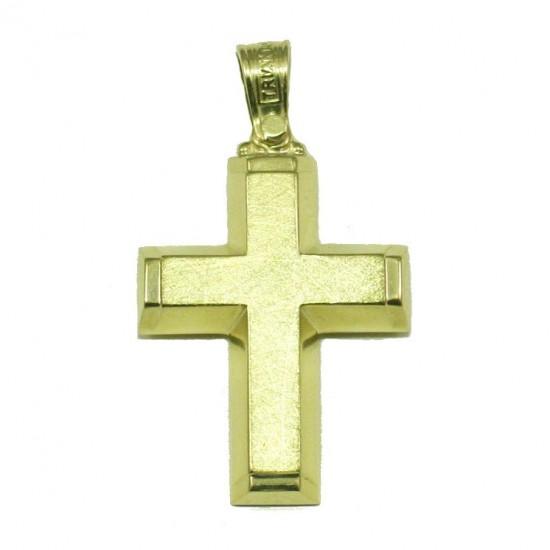 Σταυρός χρυσός Κ14 βαπτιστικός για αγόρι χαραγμένος στην μπροστινή επιφάνεια και λουστραριστός στα πλάγια