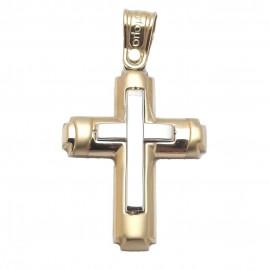 Σταυρός χρυσός βαπτιστικός δίχρωμος Κ14 για αγοράκι