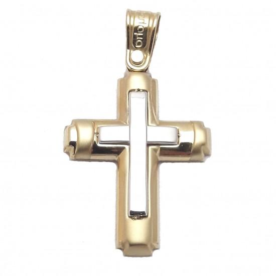 Σταυρός χρυσός δίχρωμος Κ14 για βάπτιση