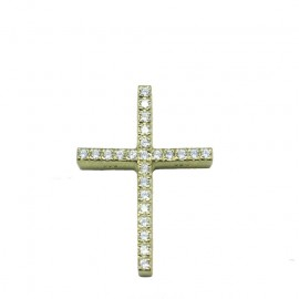 Gold cross K14 with white zircons baptism for girl.