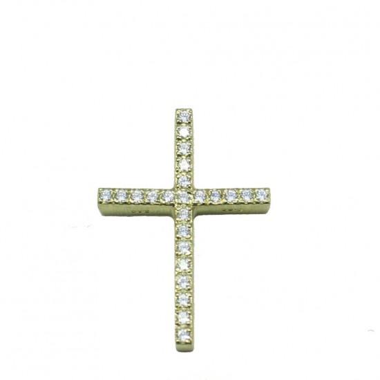 Σταυρός χρυσός Κ14 με λευκά ζιργκόν βαπτιστικός για κοριτσάκι.