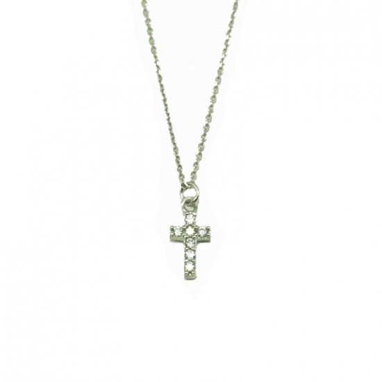 White Gold cross KI4 with white zircons and Chain length 40cm-45cm
