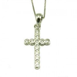 Silver Cross platinum and white zircons Chain length 40cm-45cm