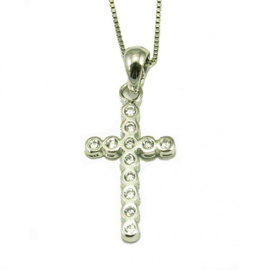 Silver Cross platinum and white zircons Chain length 40cm-45cm
