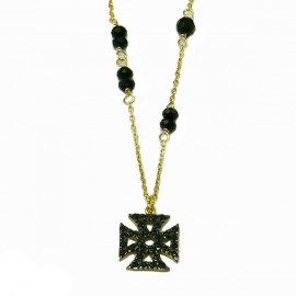 Silver necklace gold plated black platinum and black spinel Chain length 40cm-45cm