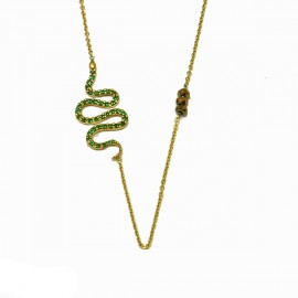 Silver necklace gold plated green color zircons and semiprecious stones Chain length 40cm-45cm