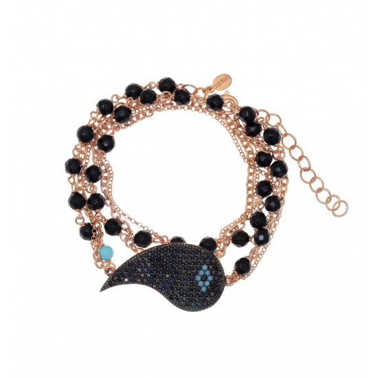 Sterling silver bracelet with pink gilding, onyx black and turquoise zircon