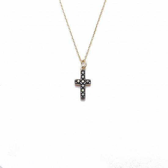 Gold cross K14 black platinum and black zircons Chain length 40cm-45cm