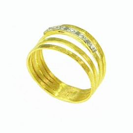 Gold ring handmade K14 with white zircons Νο. 56
