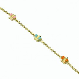 Silver baby bracelet, gold plated and enamel elements