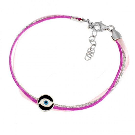 Baby bracelet with lanyard and silver platinum element and enamel