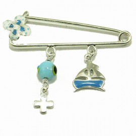 Children's nanny silver platinum plated with elements of enamel and mother-of-pearl