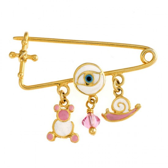 Children's nanny sterling silver gold plated and enamel items and semiprecious stone