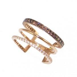 Δαχτυλίδι ροζ χρυσό Κ14 τριπλό με λευκά και καφέ princes ζιργκόν