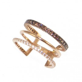 Rose gold ring K14 triple with white and brown princess zircon