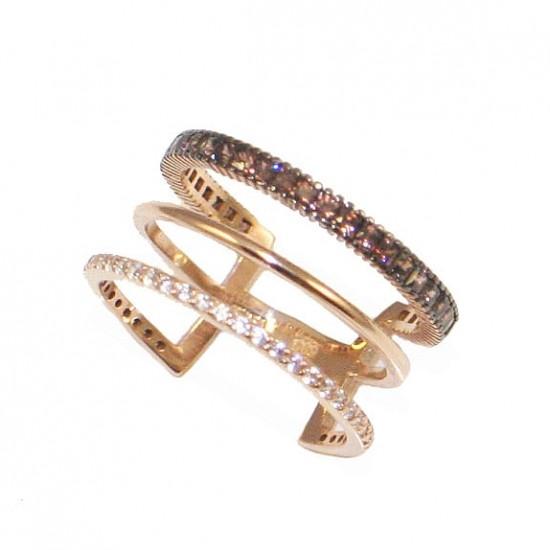 Δαχτυλίδι ροζ χρυσό Κ14 τριπλό με λευκά και καφέ princes ζιργκόν 0b1bdf9f514