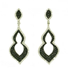 Silver earrings black platinum with white and black zircons