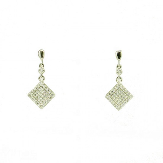 Silver earrings platinum with white zircons