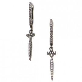 Σκουλαρίκια ασημένια σπαθιά με μαύρη πλατίνα και λευκά ζιργκόν