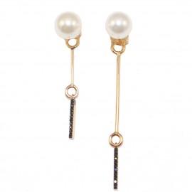 Σκουλαρίκια ροζ χρυσός Κ14 κρεμαστά με μαύρα ζιργκόν και μαργαριτάρια