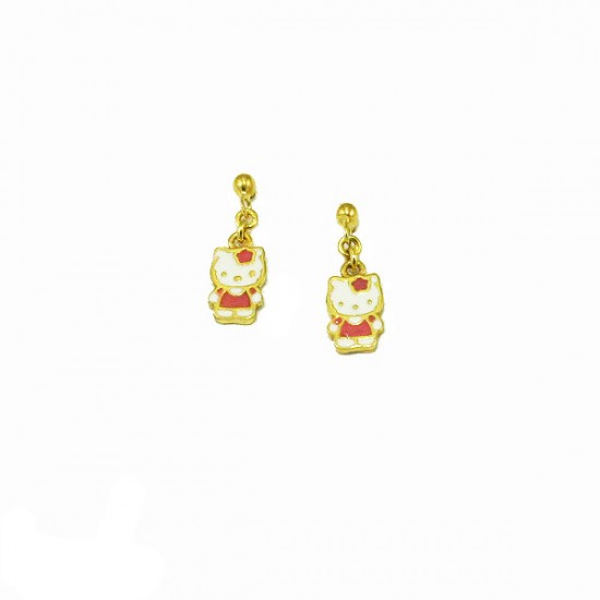Silver earrings gold plated and enamel Hello kitty