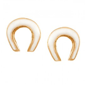 Children's silver earrings rose gold-plated and enamel