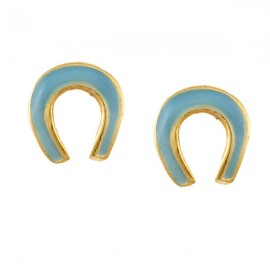 Children's silver earrings gold-plated and enamel