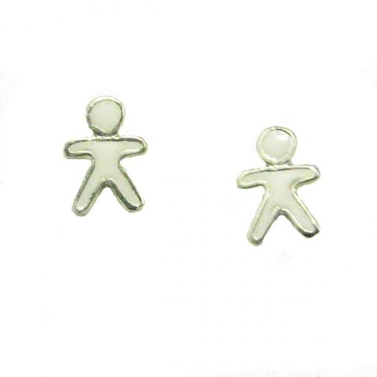 Σκουλαρίκια ασημένια παιδικά πλατινωμένα και σμάλτο