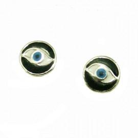 Children's silver earrings platinum and enamel