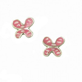 Children's silver earrings platinum and enamel