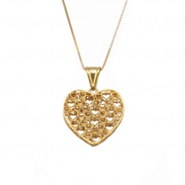 Gold necklace K14 with satin heart and chain 44cm