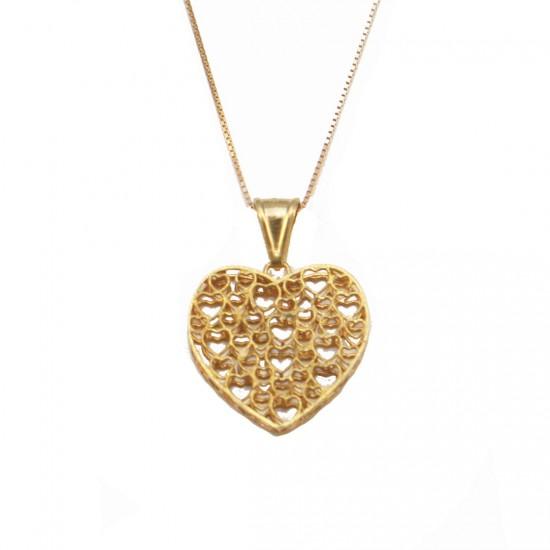Κολιέ χρυσό Κ14 με καρδιά σατινέ και καδένα 44cm