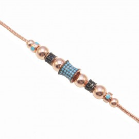 Silver bracelet with turquoise rose gold-plated and black spinel