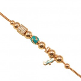 Silver bracelet rose gold-plated with turquoise and white zircons