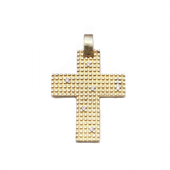 Silver cross goldplated and white zircons