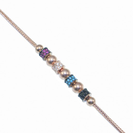 Silver bracelet rose gold-plated with white red black zircons and turquoise