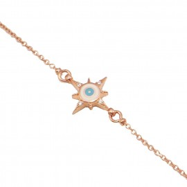 Silver bracelet rose gold-plated white zircons and enamel item