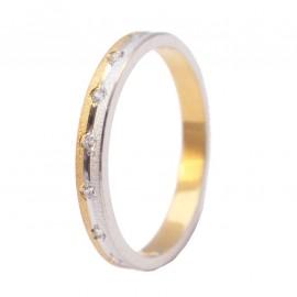 Βέρες χρυσές Κ14 γάμου η αρραβώνα δίχρωμες σφυρίλατες με ζιργκόν η διαμάντια σε μεγάλη ποικιλία με επιλογή χρώματος και ανατομικ