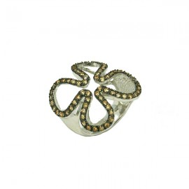 Silver ring white and black platinum coffe colour zircons No. 53