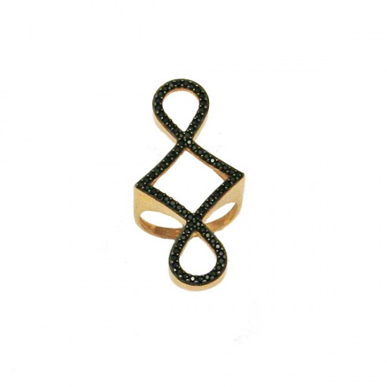 Silver ring rose goldplated and black zircons No. 56