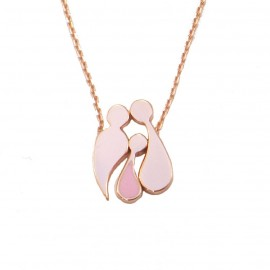 Rose gold necklace K9 family with enamel separate items Chain length 40-45cm