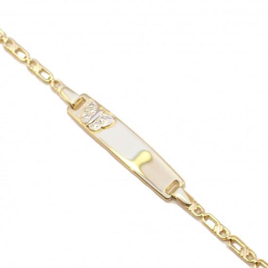 Children's gold bracelet K9 for baptism with butterfly pattern carved